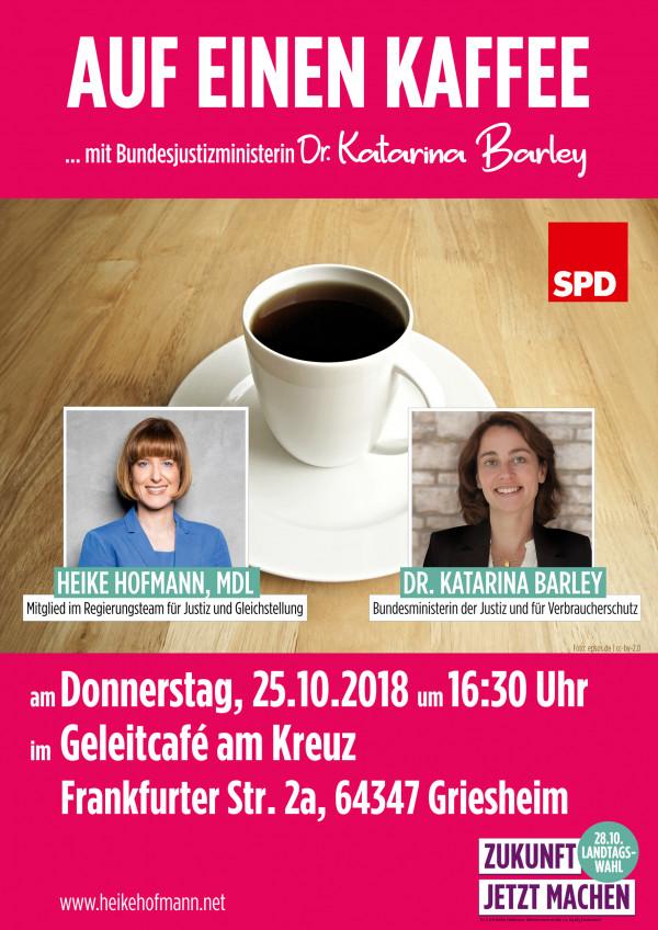 """Plakat zu """"Auf einen Kaffee... mit Dr. Katarina Barley"""""""